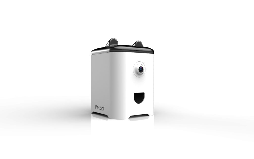 Our product design firm developed this robot, that dispenses treats to your pet when you're away from home.