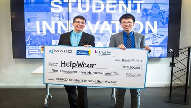 Winners of the MAKO Student Innovation Award Pitch on Dragons' Den