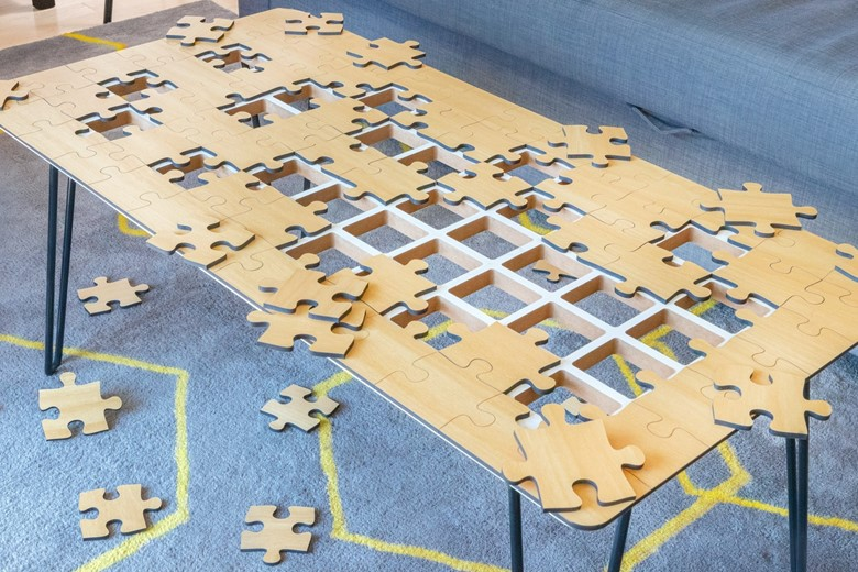 Unnecessary Invention Design: Jigsaw Puzzle Coffee Table