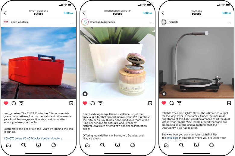 Examples of social media posts